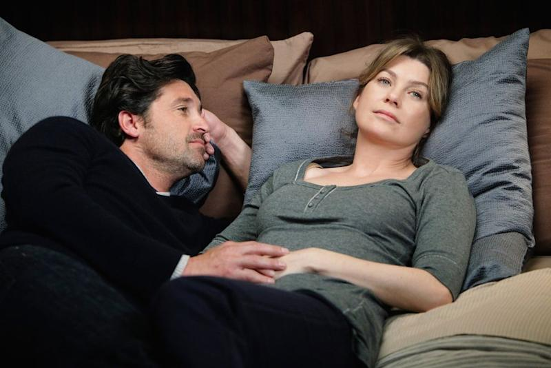 Derek Shepherd and Meredith Grey on <em>Grey's Anatomy</em>