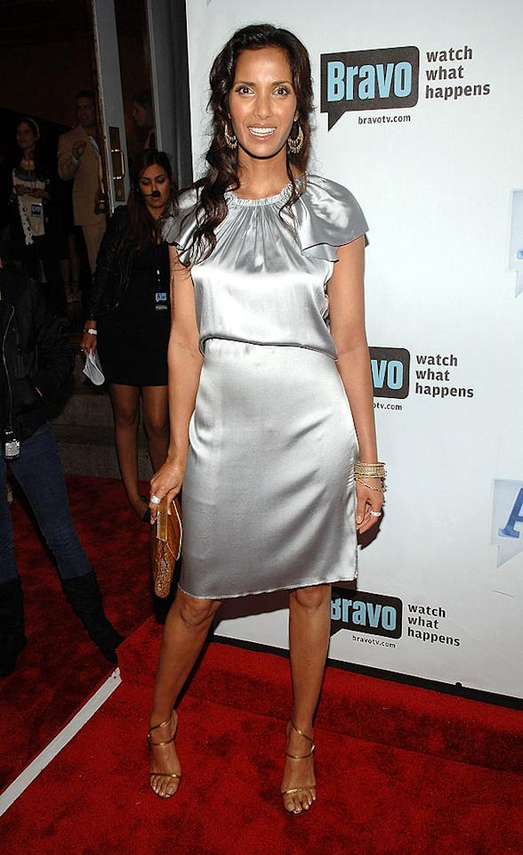 """""""Top Chef"""" host Padma Lakshmi shines in silver and gold. Jamie McCarthy/<a href=""""http://www.wireimage.com"""" target=""""new"""">WireImage.com</a> - June 4, 2008"""