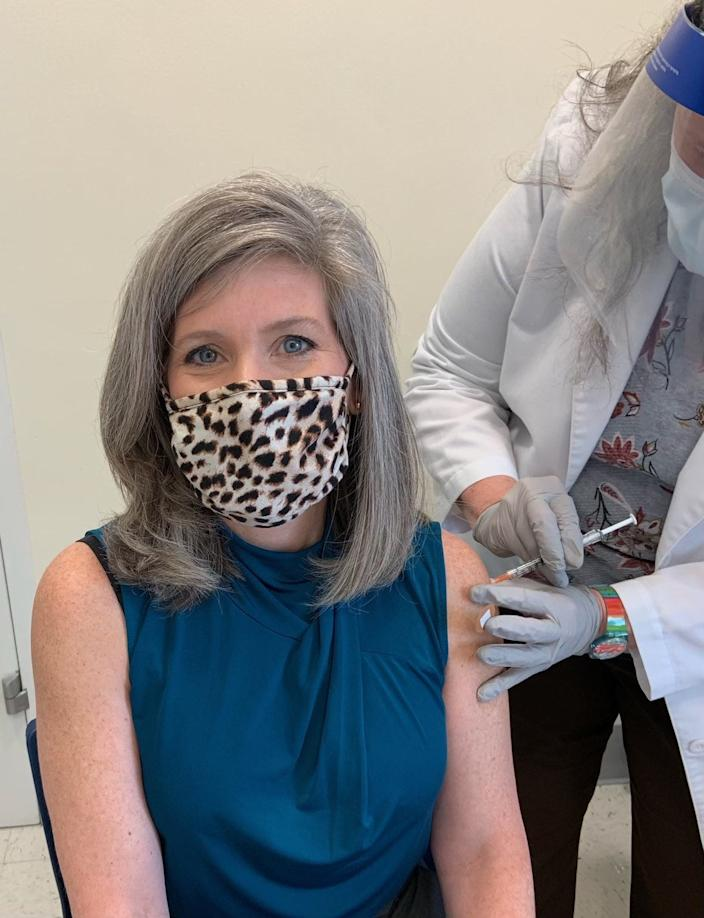 At the recommendation of the Office of the Attending Physician, Iowa U.S. Sen. Joni Ernst receives the first dose of the COVID-19 vaccine.
