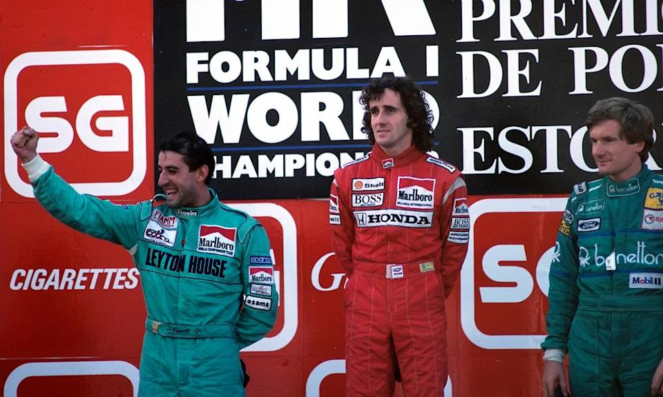 Yvan Capelli (left) celebrates his stunning drive in the 1988 race alongside winner Alain Prost and third placed Thierry Boutsen.