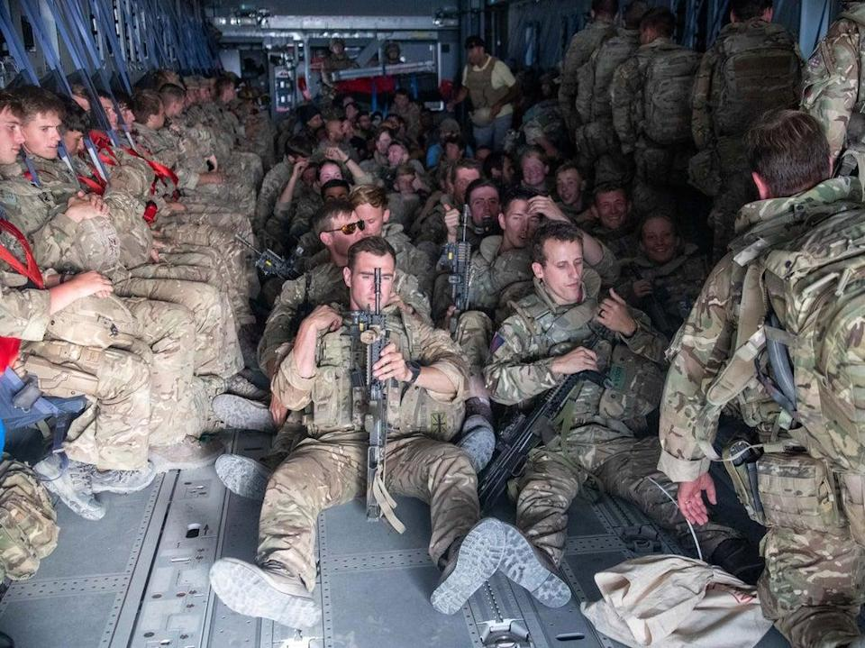 UK military personnel onboard a A400M aircraft departing from Kabul on Saturday (PA)