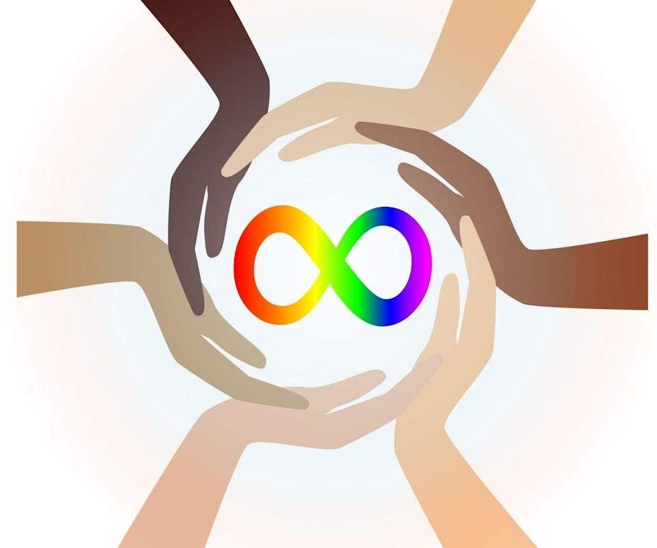 """<span class=""""caption"""">Autism awareness campaigns often portray autistic people negatively as mysterious puzzles to be solved. In contrast, the rainbow infinity symbol celebrates neurodiversity.</span> <span class=""""attribution""""><span class=""""source"""">(Shutterstock)</span></span>"""