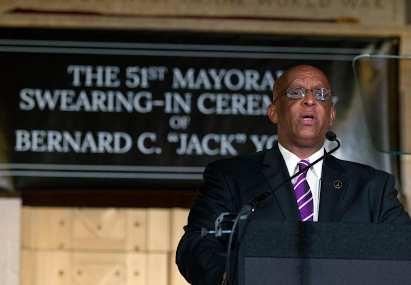 """Baltimore Mayor Bernard """"Jack"""" Young speaks to the crowd after been sworn, during the 51st Mayoral Swearing-In Ceremony at War Memorial Building in Baltimore, MD., Thursday, May 9, 2019. Former Baltimore's mayor Catherine Pugh resigned under pressure, amid a flurry of investigations into whether she arranged bulk sales of her self-published children's books to disguise hundreds of thousands of dollars in kickbacks. (AP Photo/Jose Luis Magana) ORG XMIT: MDJL114"""