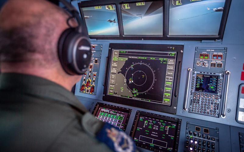Image shows MAcR Wellham-Jones over-seeing the refuelling on ZZ336. On June 26 the newly painted RAF Voyager ZZ336, aka Vespina, took flight on its first operational sortie after its refurbishment. - Sgt 'Matty' Matthews RAF