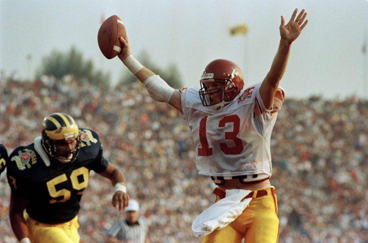 Todd Marinovich, shown here in the 1990 Rose Bowl, is attempting a football comeback in 2017. (AP)