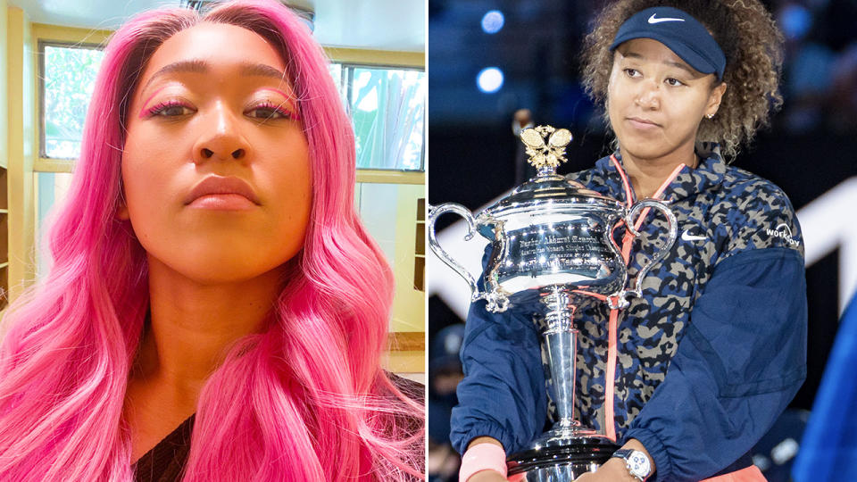 Naomi Osaka, pictured here with pink hair after winning the Australian Open.