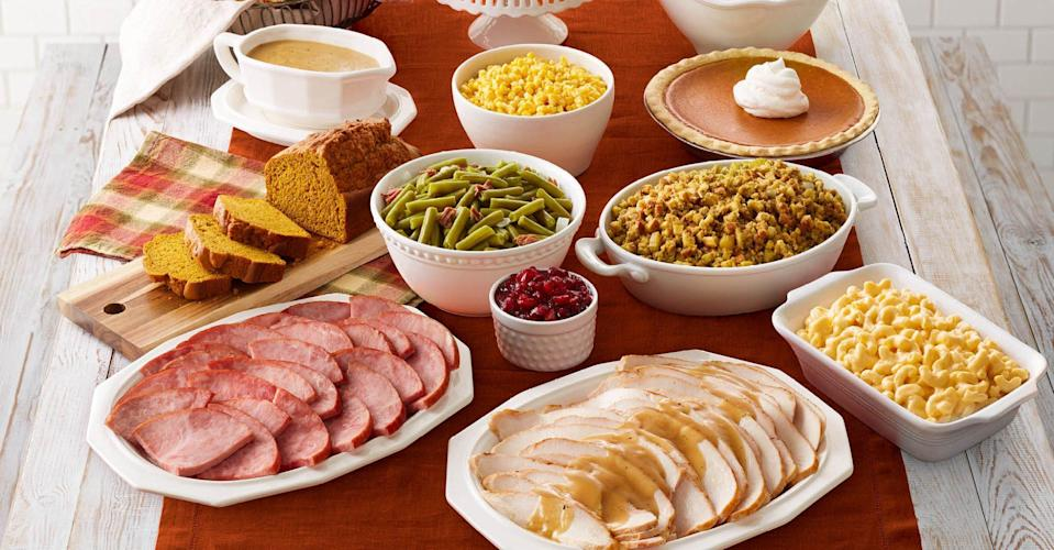 <p>Every year Bob Evans restaurants sell their signature Farmhouse Feast. The spread, which feeds four, comes with either slow-roasted turkey or hickory-smoked ham for the main, plus bread and celery dressing, corn, mashed potatoes with gravy, green beans with ham, cranberry relish, rolls, and cherry supreme pie. </p>