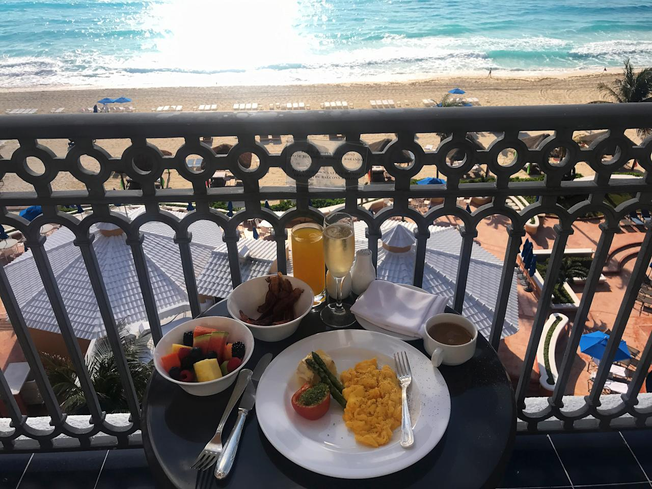 """What did the girls eat to prep for their epic beach day? Eggs, bacon, fruit and more,""""We had to make sure to order lots of food for a full day in the sun,"""" Zuri shares."""