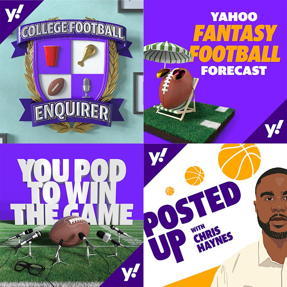 The current slate of podcasts offered by Yahoo Sports (clockwise): College Football Enquirer, Yahoo Fantasy Football Forecast, Posted Up with Chris Haynes, You Pod to Win the Game. (Yahoo Sports)