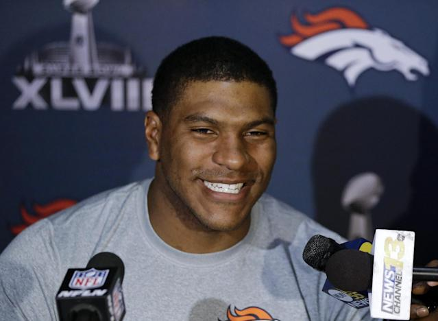 Denver Broncos tight end Julius Thomas talks with reporters during a news conference Monday, Jan. 27, 2014, in Jersey City, N.J. The Broncos are scheduled to play the Seattle Seahawks in the NFL Super Bowl XLVIII football game Sunday, Feb. 2, in East Rutherford, N.J. (AP Photo/Mark Humphrey)