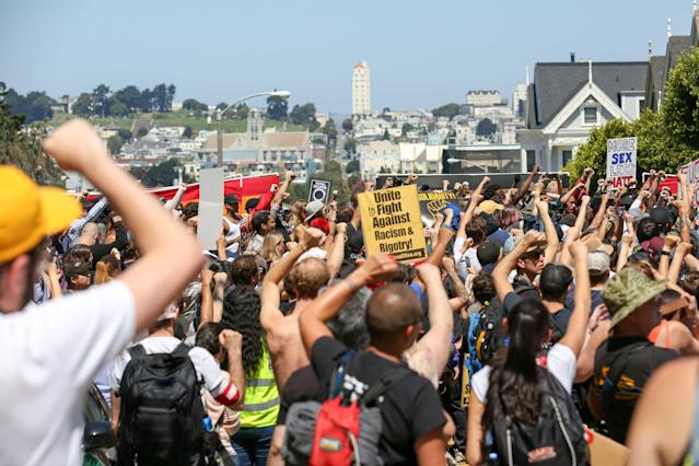 "<p>Protesters who showed up to counter-protest Joey Gibson's press conference, the organizer who cancelled the Crissy Field "" Patriot Prayer"", continue their demonstration despite Gibson cancelling again on August 26, 2017 at Alamo Square in San Francisco, Calif. (Photo: Amy OsborneAFP/Getty Images) </p>"