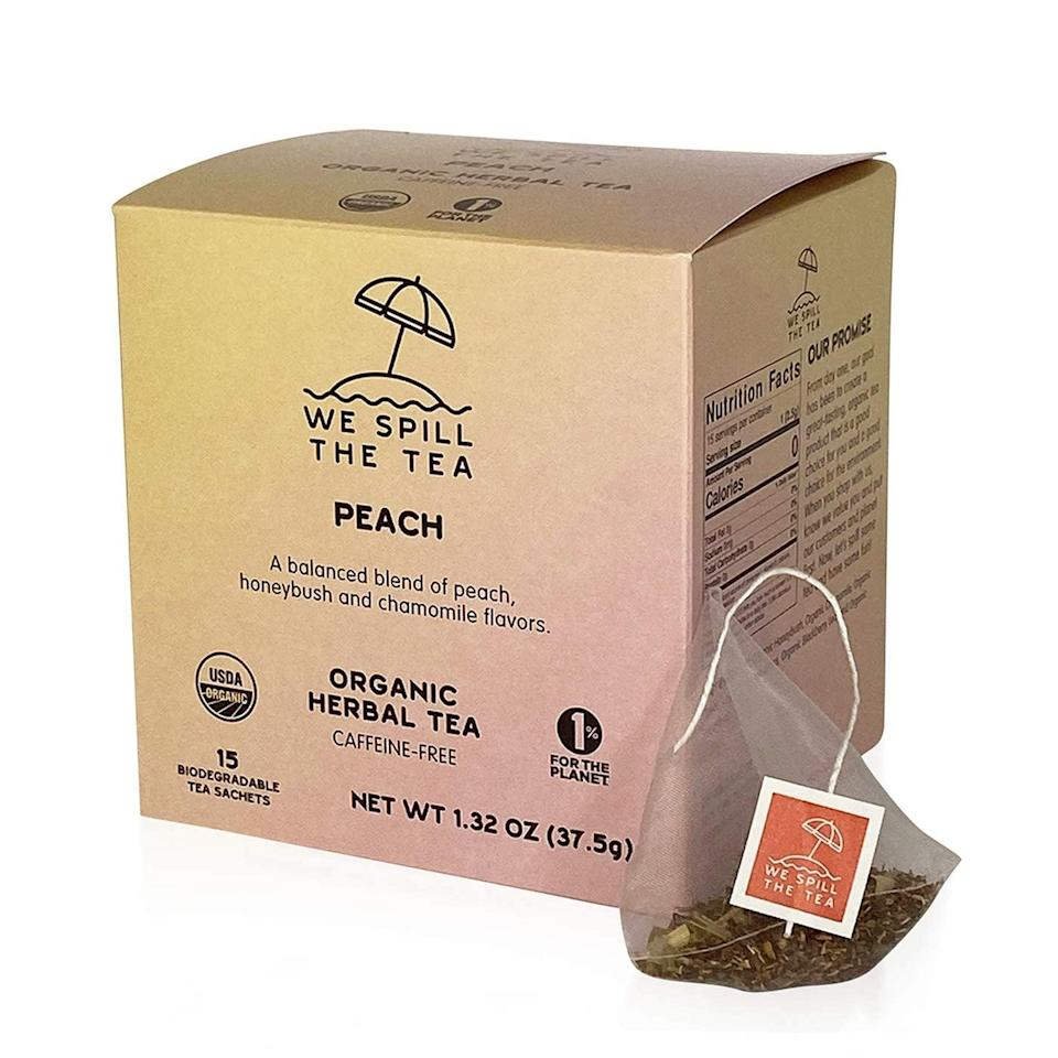 <p>The box of this <span>We Spill The Tea Organic Peach Tea</span> ($13) is made with FSC-certified paper and is 100-percent recyclable. In addition, the packaging, tea bags, string, and tags are all biodegradable and commercially compostable. We love the thoughtful design!</p>