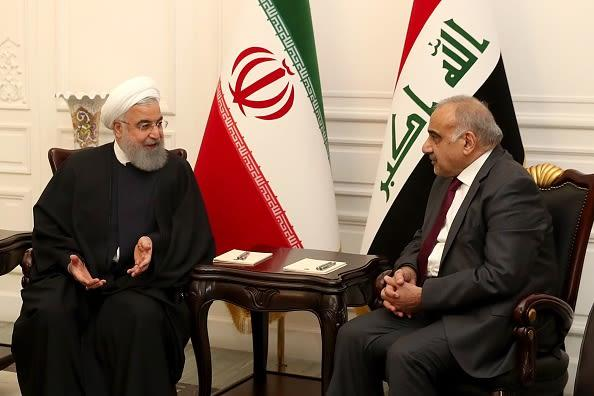 Iranian President Hassan Rouhani is welcomed by Iraqi Prime Minister Adil Abdulmehdi (R) at Iraqi Prime Ministry Palace in Baghdad, Iraq on March 11, 2019.