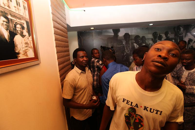 Seun Kuti, the son of Late Afrobeat Legend Fela Kuti, attends opening of Kalakuta Museum in Lagos, Nigeria, on Monday, Oct. 15, 2012. The family of late Afrobeat singer Fela Anikulapo-Kuti celebrated the opening of the Kalakuta Museum on Monday in Lagos in the home the musician once lived in. The opening of the museum comes during Felabration, an annual music festival honoring the singer. (AP Photo / Sunday Alamba)