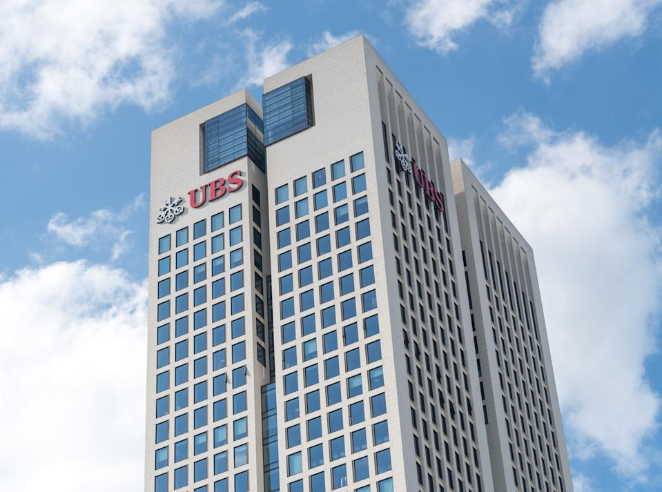 Frankfurt am Main, Germany - June 27, 2020: UBS Europe SE head office skyscraper. UBS Group AG UBS Group SA UBS Group Inc. is a public company incorporated under the laws of Switzerland