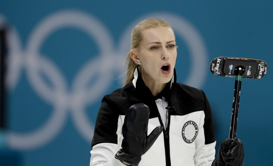 <p>Olympic Athlete from Russia skip Victoria Moiseeva makes a call during a women's curling match against Sweden at the 2018 Winter Olympics in Gangneung, South Korea, Friday, Feb. 16, 2018. (AP Photo/Natacha Pisarenko) </p>