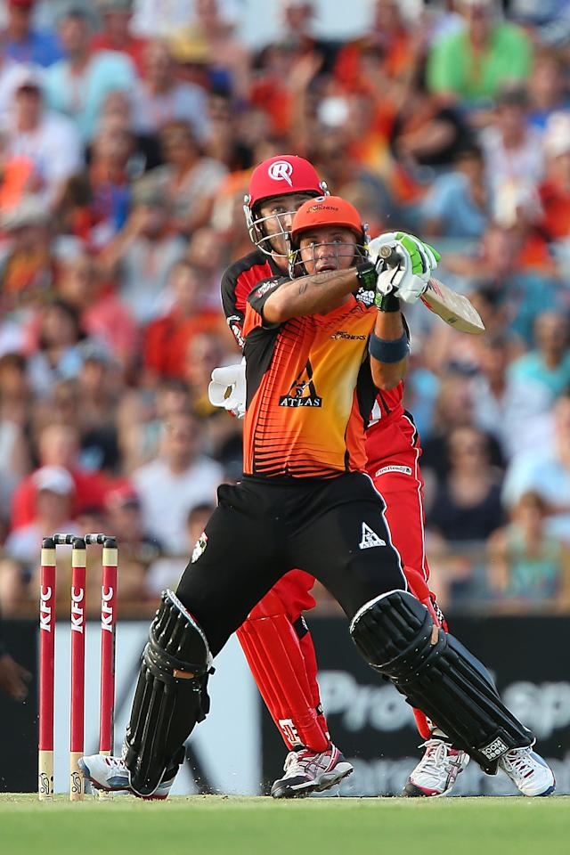 PERTH, AUSTRALIA - DECEMBER 29:  Herschelle Gibbs of the Scorchers hits a boundary during the Big Bash League match between the Perth Scorchers and the Melbourne Renegads at WACA on December 29, 2012 in Perth, Australia.  (Photo by Paul Kane/Getty Images)