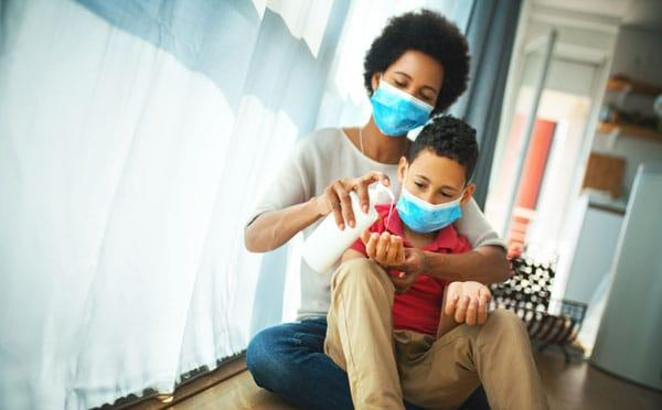 Mother and son in pandemic quarantine