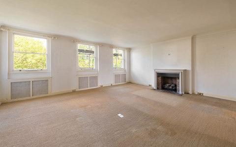 The flat has a large reception room, measuring 20ft by 20ft, but is in need of renovation