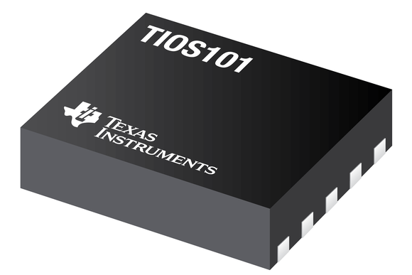 Semiconductor chip with the Texas Instruments logo and model number label on it.