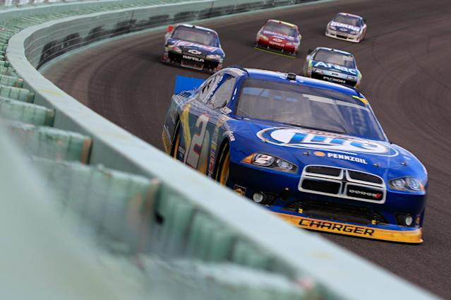 HOMESTEAD, FL - NOVEMBER 20: Brad Keselowski, drives the #2 Miller Lite Dodge, during the NASCAR Sprint Cup Series Ford 400 at Homestead-Miami Speedway on November 20, 2011 in Homestead, Florida. (Photo by Chris Trotman/Getty Images for NASCAR)