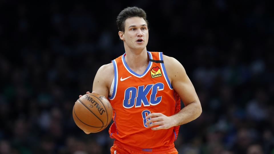 Oklahoma City Thunder's Danilo Gallinari plays against the Boston Celtics during an NBA basketball game, Sunday, March, 8, 2020, in Boston. (AP Photo/Michael Dwyer)