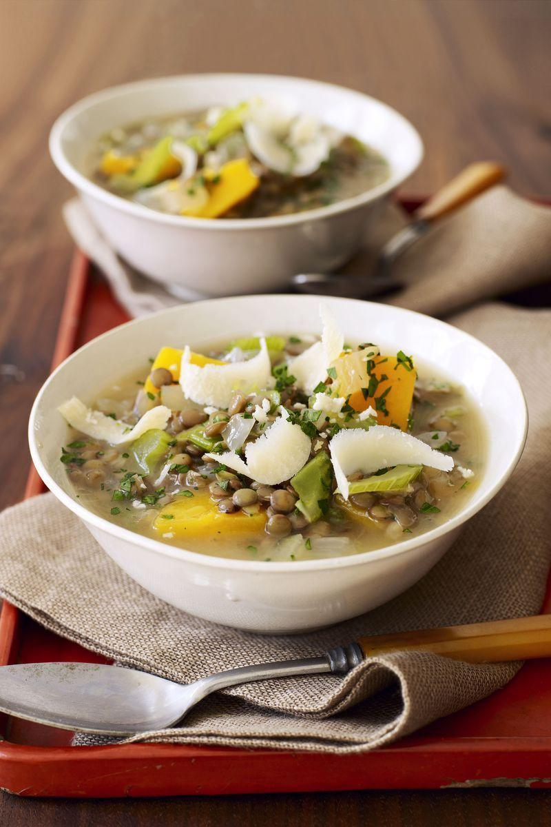 """<p>Load up your slow cooker with protein-packed lentils and butternut squash for a hearty vegetarian soup.<br></p><p><em><a href=""""https://www.goodhousekeeping.com/food-recipes/a8101/lentil-stew-butternut-squash-recipes/"""" rel=""""nofollow noopener"""" target=""""_blank"""" data-ylk=""""slk:Get the recipe for Lentil Stew with Butternut Squash »"""" class=""""link rapid-noclick-resp"""">Get the recipe for Lentil Stew with Butternut Squash »</a></em></p><p><strong>RELATED: </strong><a href=""""https://www.goodhousekeeping.com/food-recipes/healthy/g1364/myplate-inspired-slow-cooker-dinners/"""" rel=""""nofollow noopener"""" target=""""_blank"""" data-ylk=""""slk:25 Healthy Slow Cooker Recipes That Basically Make Themselves"""" class=""""link rapid-noclick-resp"""">25 Healthy Slow Cooker Recipes That Basically Make Themselves</a></p>"""