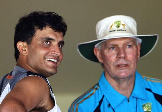 Sourav Ganguly speaks with Australian assistant coach and   former Indian team coach Greg Chappell after attending a   practice session at The Chinnaswamy Stadium in Bangalore. <i>Getty Images</i>