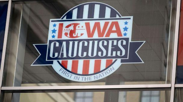 PHOTO: Signage for the Iowa Caucuses hang in downtown Des Moines, Iowa, Jan. 25, 2020. (Stephen Maturen/AFP/Getty Images)