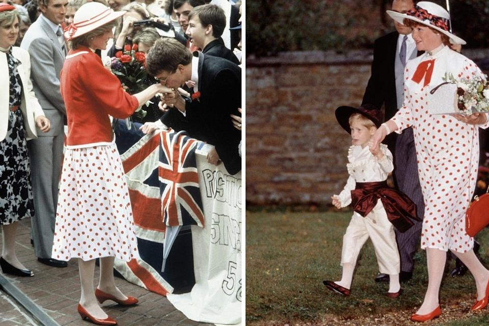 """<p>During a walkabout on April 14, 1983, in Melbourne, Australia, Princes Diana wore a cheerful polka-dot dress underneath a red blazer.</p><p>Six years later, her sister Lady Sarah McCorquodale wore a very similar dress (if not the same exact one, just tailored differently and styled with a new collar) to her brother Charles Spencer's wedding to Victoria Lockwood on September 16, 1989, where <a href=""""https://www.townandcountrymag.com/society/tradition/g9536203/prince-william-harry-page-boys/"""" rel=""""nofollow noopener"""" target=""""_blank"""" data-ylk=""""slk:Prince Harry was a page boy"""" class=""""link rapid-noclick-resp"""">Prince Harry was a page boy</a>.</p>"""