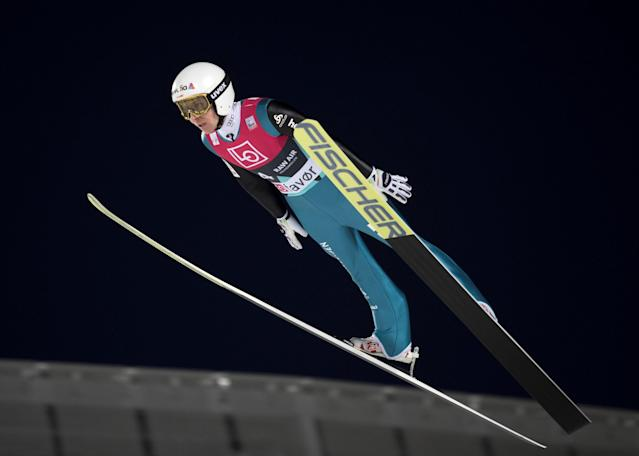 Ski Jumping World Cup - Men's HS134 Qualification - Holmenkollen, Oslo, Norway - March 9, 2018. Simon Ammann of Switzerland is seen during official training. NTB Scanpix/Terje Bendiksby via REUTERS ATTENTION EDITORS - THIS IMAGE WAS PROVIDED BY A THIRD PARTY. NORWAY OUT. NO COMMERCIAL OR EDITORIAL SALES IN NORWAY.