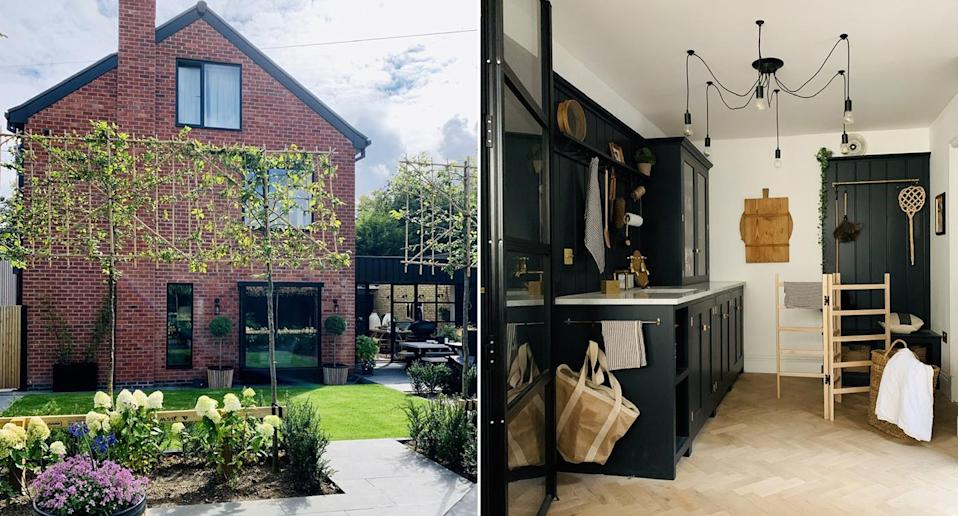 The rear of Katy's stunning renovated home (left) and inside her well-accessorised house (right). (SWNS)