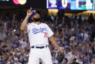 Los Angeles Dodgers relief pitcher Kenley Jansen gestures after striking out Colorado Rockies' C.J. Cron to end the baseball game Saturday, July 24, 2021, in Los Angeles. The Dodgers won 1-0. (AP Photo/Mark J. Terrill)