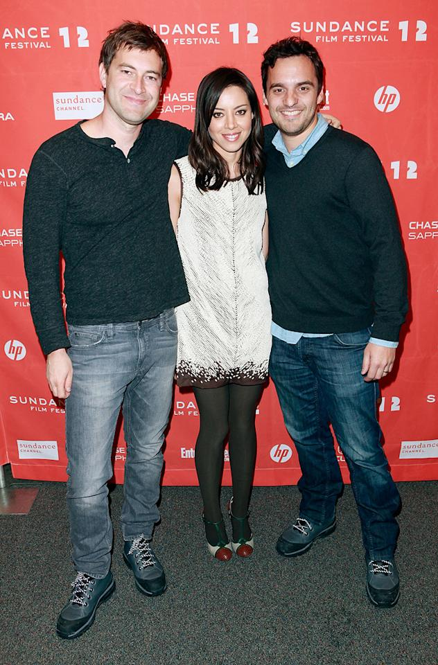 "Mark Dupalss, Aubrey Plaza and Jake Johnson at the 2012 Sundance Film Festival  premiere of ""Saftey Not Guaranteed"" on January 22, 2012.<br>"