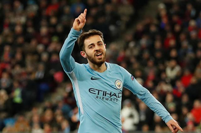 Soccer Football - Champions League - Basel vs Manchester City - St. Jakob-Park, Basel, Switzerland - February 13, 2018 Manchester City's Bernardo Silva celebrates scoring their second goal Action Images via Reuters/Andrew Boyers
