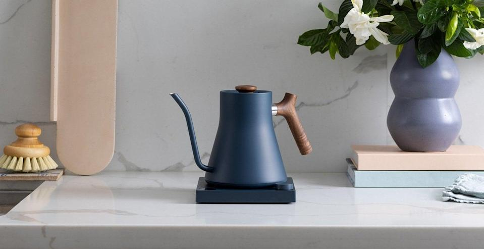<p>I also am obsessing over the brand's newest addition, the <span>Fellow Stagg EKG Electric Kettle</span> ($169) in navy and walnut. The dark wood is a great choice if it matches other wood pieces in your kitchen.</p>