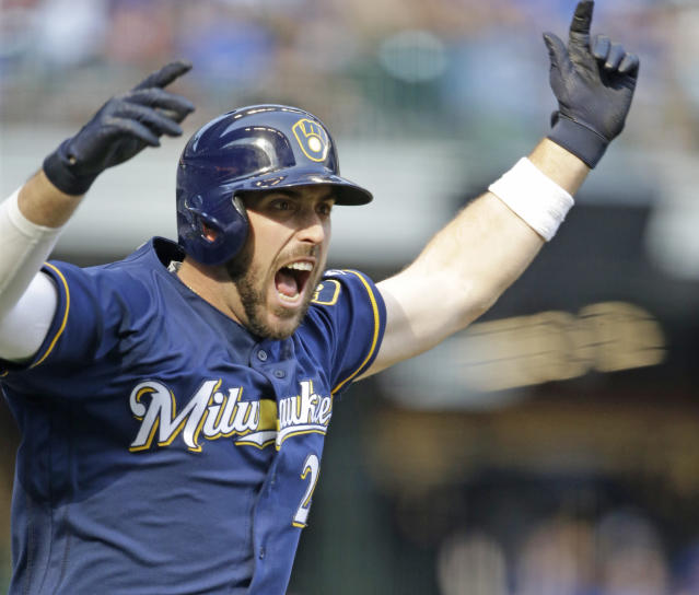 Travis Shaw of the Brewers reacts after his two-run game winning home run against the Chicago Cubs on Saturday. (AP)