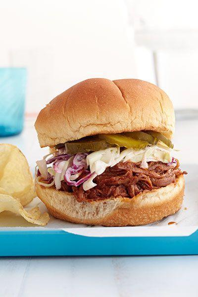 """<p>Traditional Southern fare doesn't get anymore delicious than hearty barbecue brisket on a bun. Top with a crisp, tangy cabbage slaw.</p><p><em><a href=""""https://www.goodhousekeeping.com/food-recipes/a15732/bbq-brisket-sandwiches-quick-slaw-recipe-wdy0714/"""" rel=""""nofollow noopener"""" target=""""_blank"""" data-ylk=""""slk:Get the recipe for BBQ Brisket Sandwiches with Quick Slaw »"""" class=""""link rapid-noclick-resp"""">Get the recipe for BBQ Brisket Sandwiches with Quick Slaw »</a></em><br></p>"""