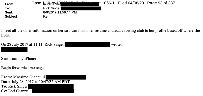 The email thread about creating a fake rowing profile for Olivia Jade. (Screenshot: United States District Court for the District of Massachusetts)