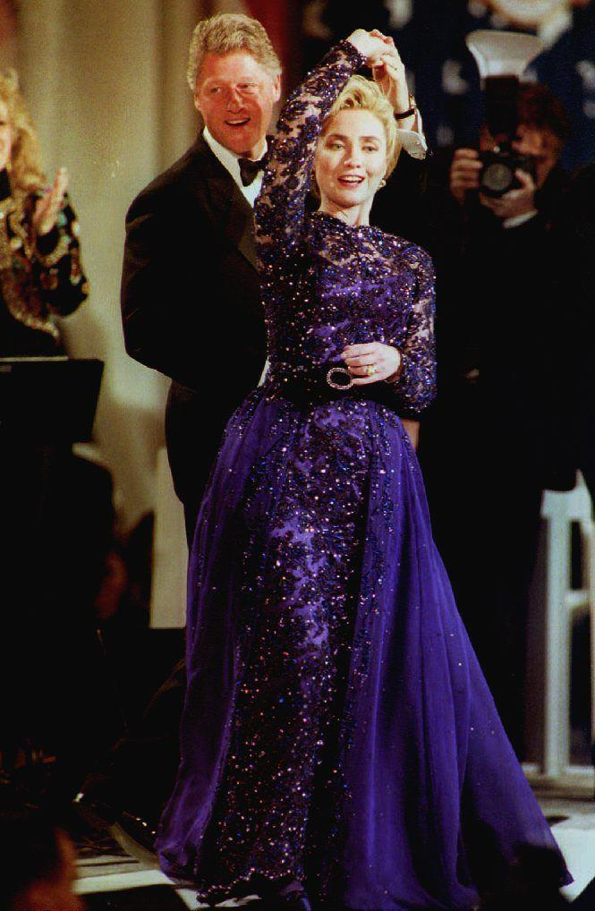 Hillary Clinton opted for a violet dress by New York-based designer Sarah Phillips in 1993AFP via Getty Images