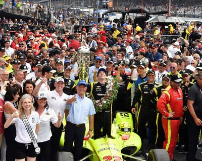 The Borg-Warner Trophy® is presented to Simon Pagenaud, winner of the 2019 Indianapolis 500