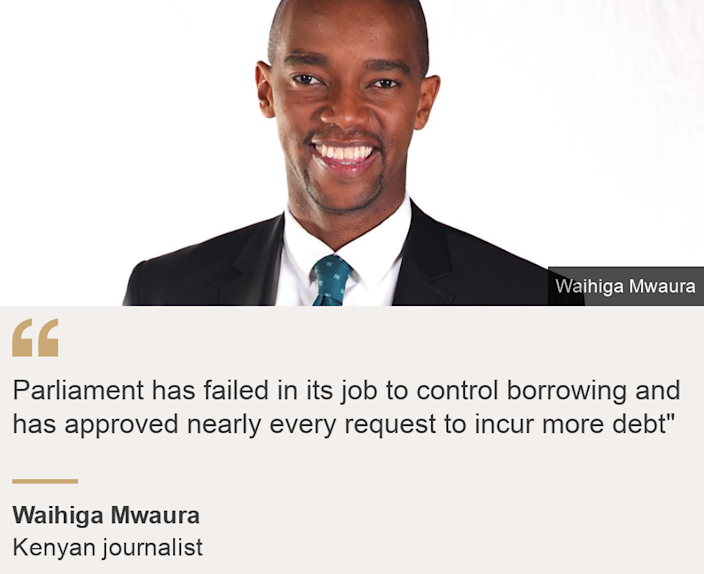"""Parliament has failed in its job to control borrowing and has approved nearly every request to incur more debt"""", Source: Waihiga Mwaura, Source description: Kenyan journalist, Image: Waihiga Mwaura"