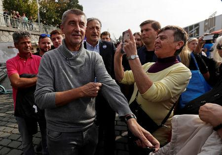 FILE PHOTO: The leader of ANO party Andrej Babis arrives at an election campaign rally in Prague, Czech Republic September 28, 2017.  REUTERS/David W Cerny/File Photo