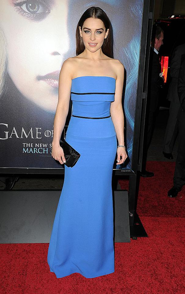 "She may be blond on ""Game of Thrones"" (as Mother of Dragons Daenerys Targaryen), but in real life, Emilia Clarke is a raven-haired beauty. On Monday, the English actress wore an English designer, Victoria Beckham, to the highly anticipated third season premiere of her hit HBO show. Are you loving the strapless stretch gown as much as we are? (3/18/2013)"