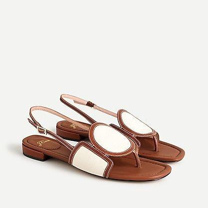 """<p><strong>J.Crew</strong></p><p>jcrew.com</p><p><strong>$138.00</strong></p><p><a href=""""https://go.redirectingat.com?id=74968X1596630&url=https%3A%2F%2Fwww.jcrew.com%2Fp%2FAV971&sref=https%3A%2F%2Fwww.townandcountrymag.com%2Fstyle%2Ffashion-trends%2Fg36200206%2Fsummer-shoes%2F"""" rel=""""nofollow noopener"""" target=""""_blank"""" data-ylk=""""slk:Shop Now"""" class=""""link rapid-noclick-resp"""">Shop Now</a></p><p>Geometric shapes give a modern touch to these slingbacks while saddle brown leather and cream canvas keep it classic. </p>"""