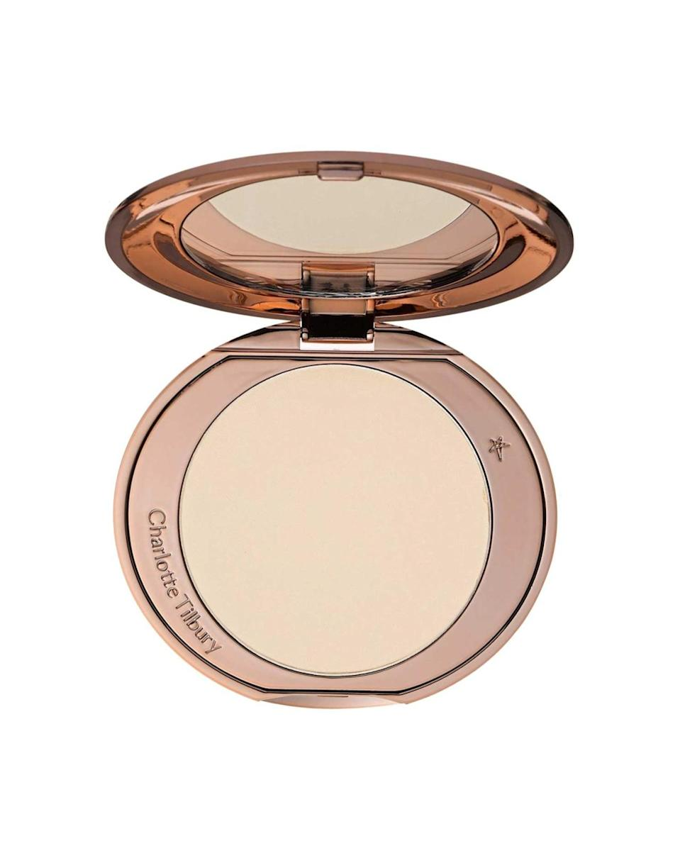 """<p>Quality setting powder is the difference between luminous, long-wearing makeup and streaky, blotchy-looking makeup. """"Even if you think you don't need it in your makeup routine, powder is awesome for every skin type to set makeup and eliminate shine,"""" says Burton. She recommends the oil-free, non-pore-clogging <a href=""""http://www.lauramercier.com/mineral-illuminating-powder-prod170006.html#start=6"""" rel=""""nofollow noopener"""" target=""""_blank"""" data-ylk=""""slk:Laura Mercier Mineral Illuminating Powder"""" class=""""link rapid-noclick-resp"""">Laura Mercier Mineral Illuminating Powder</a> ($35), with nourishing ingredients to protect skin from environmental stressors. Morgan uses <a href=""""http://shop.nordstrom.com/s/charlotte-tilbury-air-brush-flawless-finish-skin-perfecting-micro-powder/3849022"""" rel=""""nofollow noopener"""" target=""""_blank"""" data-ylk=""""slk:Charlotte Tilbury Airbrush Flawless Finish"""" class=""""link rapid-noclick-resp"""">Charlotte Tilbury Airbrush Flawless Finish</a> ($45, pictured left) for her clients' glow.</p>"""