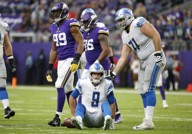 "<a class=""link rapid-noclick-resp"" href=""/nfl/players/9265/"" data-ylk=""slk:Matthew Stafford"">Matthew Stafford</a> was on his backside for much of Sunday's blowout loss at Minnesota. (AP/Bruce Kluckhohn)"