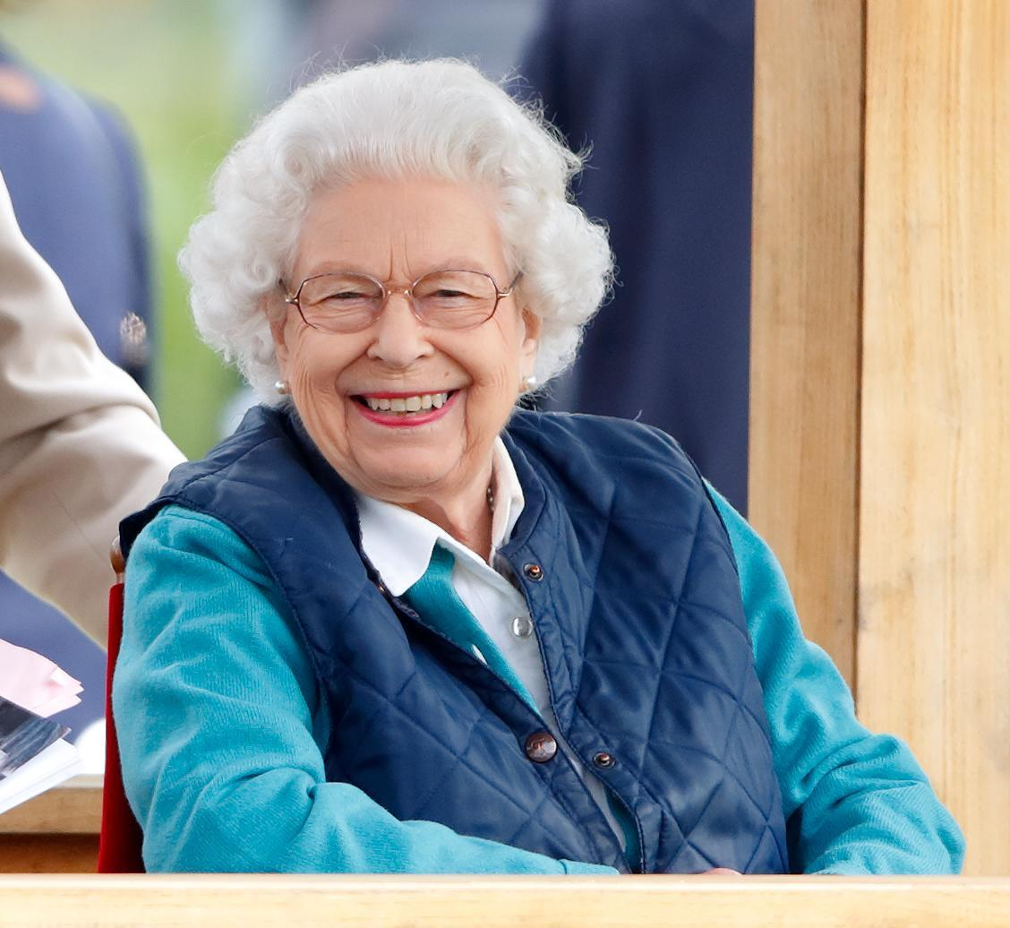 WINDSOR, UNITED KINGDOM - JULY 03: (EMBARGOED FOR PUBLICATION IN UK NEWSPAPERS UNTIL 24 HOURS AFTER CREATE DATE AND TIME) Queen Elizabeth II watches her horse 'First Receiver' compete in and win the Retired Racehorses - RoR Open In Hand Show Series Qualifier Class on day 3 of the Royal Windsor Horse Show in Home Park, Windsor Castle on July 3, 2021 in Windsor, England. (Photo by Max Mumby/Indigo/Getty Images)