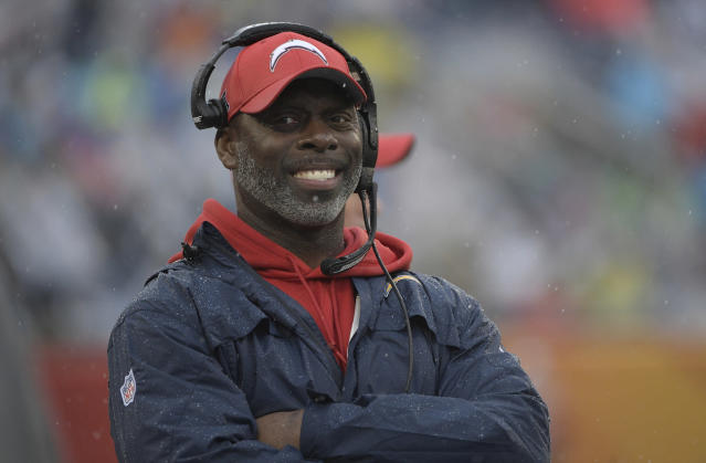 Los Angeles Chargers head coach Anthony Lynn will spend part of his summer break in Africa, where his foundation has helped build a primary school in Tanzania. (AP)