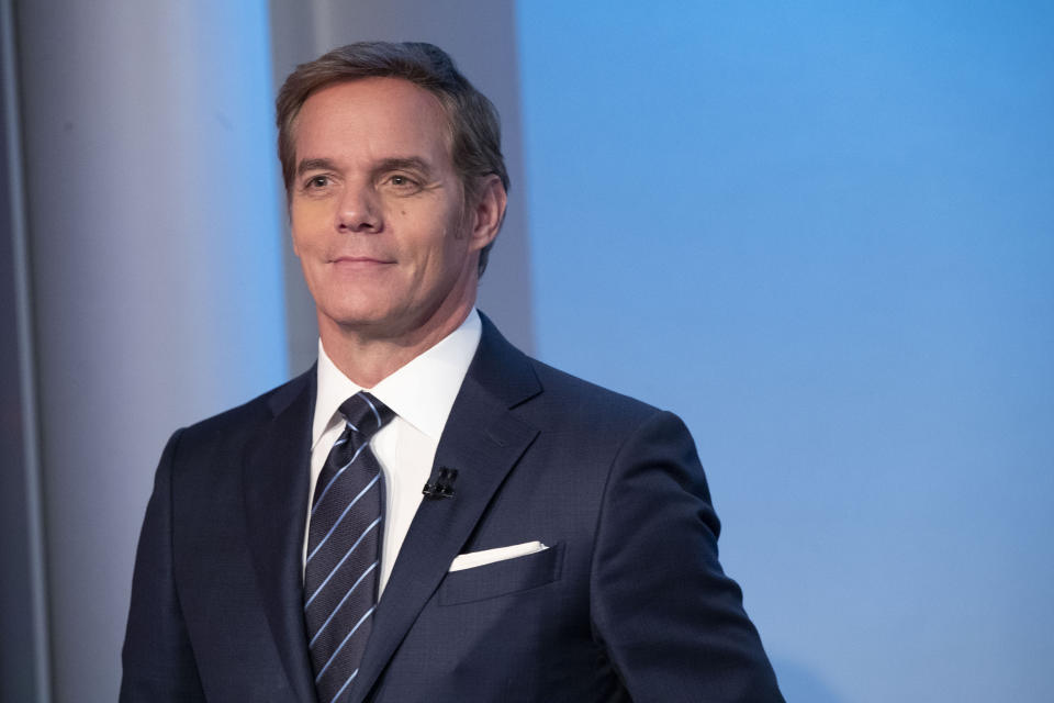 FOX News Channel's Bill Hemmer, anchor of news program Bill Hemmer Reports, rehearses on the set of his new show, Friday, Jan. 17, 2020, in New York. Hemmer takes over the 3 p.m. ET news hour that Shepard Smith vacated when he abruptly quit the network late last year. (AP Photo/Mary Altaffer)